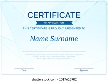 Modern achievement certificate or diploma design template. Line pattern high-tech background layout. Vector illustration