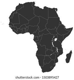 Modern african continent with countries political map colored black.