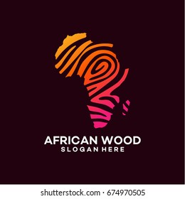 modern African wood logo template designs vector illustration