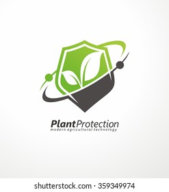 Modern agricultural technology logo design template. Shield shape with plant in negative space.