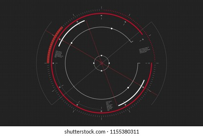 Modern aiming system. Sci-fi futuristic spaceship crosshair. Outline HUD user interface. Techno target screen elements. Abstract Technology background.  Vector illustration