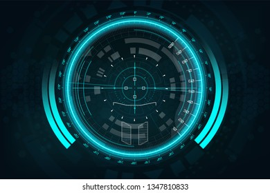 A modern aiming system. Sci-fi futuristic spaceship crosshair. Outline HUD user interface. Fullcolor interface. Techno target screen elements. Abstract Technology background. Vector gadget