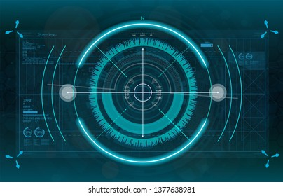 Modern aiming system. Sci-fi futuristic spaceship crosshair. Outline HUD user interface. Fullcolor interface. Techno target screen elements. Abstract Technology background. Vector gadget