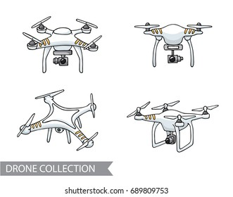 Modern air drone, remote control drone with camera isolated. Flat cartoon vector illustration. Hand drawn doodle. Outline