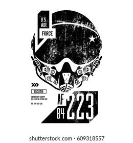 Modern air force old grunge effect vector design. Premium quality superior pilot helmet logo concept.