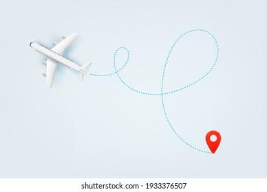 Modern aircraft path. Summer travel vector illustration