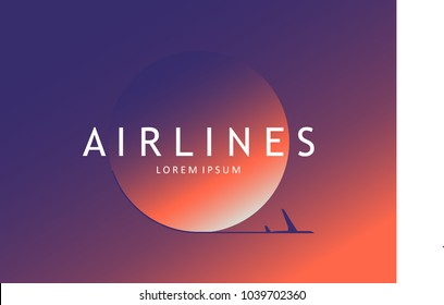 Modern airline logotype. Airplane poster. Pop - art minimalistic style, for travel agencies, aviation companies.