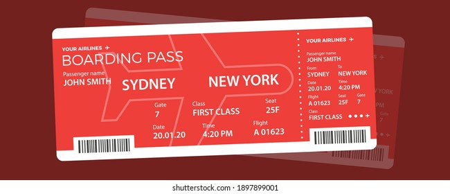 Modern airline ticket design with flight time and passenger name. vector illustration.