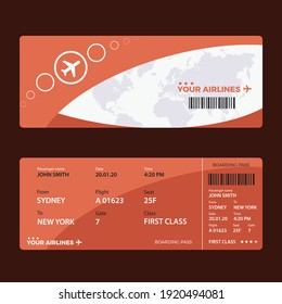 Modern airline ticket design with flight time and passenger name. vector illustration