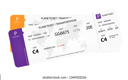 Modern airline tickets. Plane ticket design on white background. Concept design of  Plane ticket, airline ticket. flight time on ticket. Vector flat style cartoon illustration