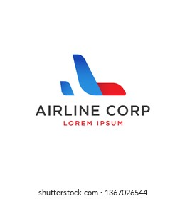 modern airplane, airline logo template