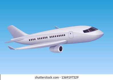 Modern airplane flying in sky. Vector illustration of cartoon modern plane for travel agency or aviation poster design.