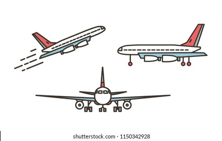 Modern airplane, passenger plane, airliner or jumbo jet taking off or ascending and standing on ground isolated on white background. Front and side views. Vector illustration in line art style.