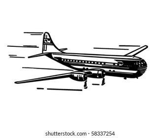 Modern Airplane - Retro Clip Art