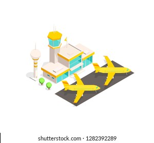 Modern airport terminal building and airplane.