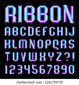 Modern alphabet. Letters and numbers folded from color paper tapes. Uppercase,