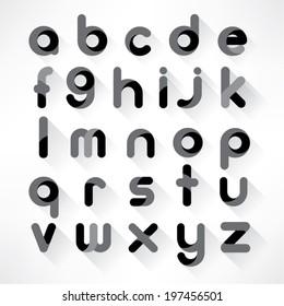 Modern Alphabet Set with Shadow
