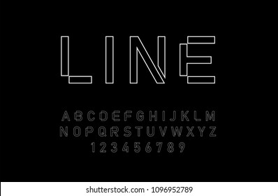 modern alphabet thin line fonts and numbers. designs for logo, Poster, Invitation, etc. Typography font uppercase and numbers. vector illustrator
