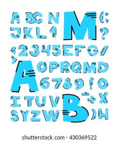 Modern alphabetic fonts and numbers. Mono alphabet with thin line.