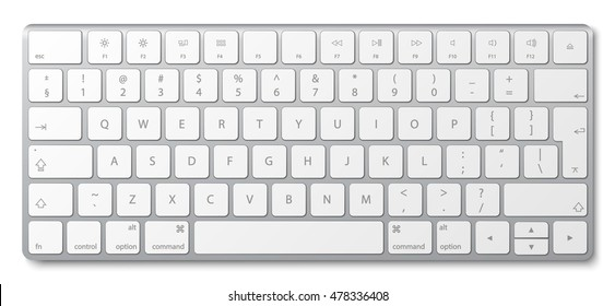 Modern aluminum computer keyboard isolated on white background. Vector illustration. EPS10.