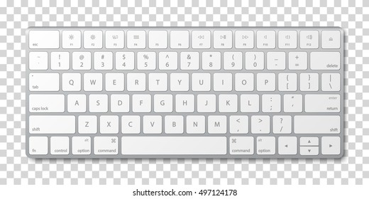 Modern aluminum computer keyboard on transparent background. Vector illustration. EPS10.