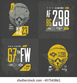 Modern American air force old grunge effect tee print vector design set. Premium quality superior pilot helmet and number logo concept. Shabby t-shirt U.S. aircraft emblem.