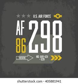 Modern american air force tee print vector design. Premium quality superior number logo concept. Shabby t-shirt U.S. aircraft emblem.