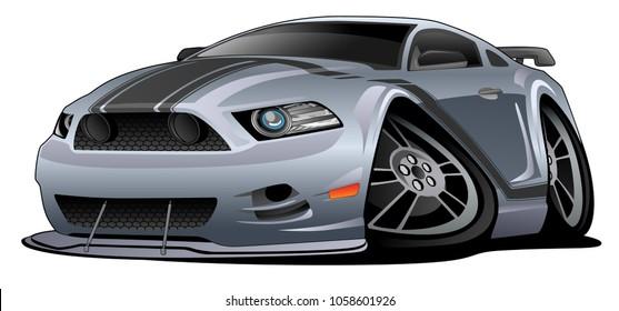 Modern American Muscle Car Cartoon Vector Illustration