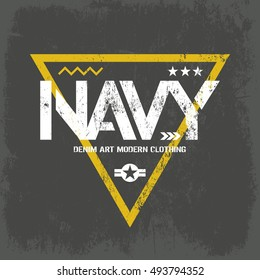 Modern american navy grunge effect tee print vector design illustration. Premium quality superior military shabby logo concept. Threadbare warlike label khaki t-shirt mock up.