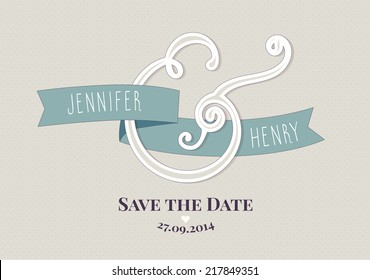 Modern Ampersand Wedding invitation template. Save the Date