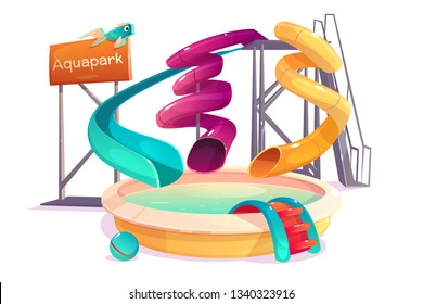 Modern amusement park water attractions, various shape, curved slides going to swimming pool cartoon vector isolated on white background. Aquapark playground for barefoot play and kids entertainment