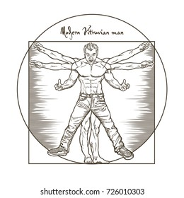 Modern angry Vitruvian man isolated on white background