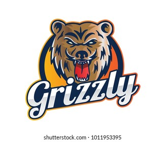 Modern Animal Sports Team Logo Badge Illustration, Grizzly Bear