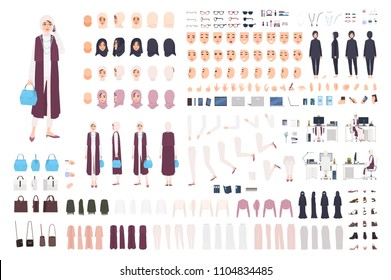 Modern Arab business woman constructor or creation kit. Bundle of female office worker body parts, facial expressions, traditional clothes isolated on white background. Cartoon vector illustration