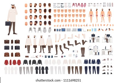 Modern Arab businessman constructor or DIY kit. Collection of male office worker body parts, facial expressions, traditional clothing isolated on white background. Cartoon vector illustration.