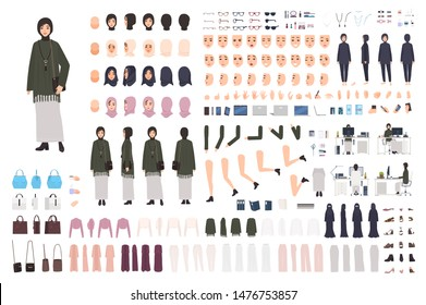Modern Arab woman in traditional clothes DIY set or constructor kit. Collection of body parts, postures, headdresses. Female cartoon character. Front, side, back views. Flat vector illustration.