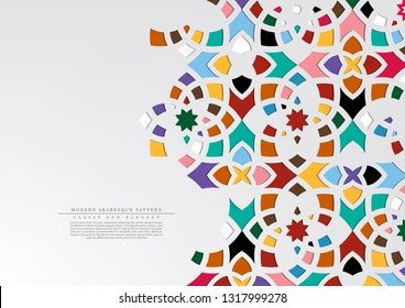 Modern arabesque floral pattern colorful arabic background template vector design