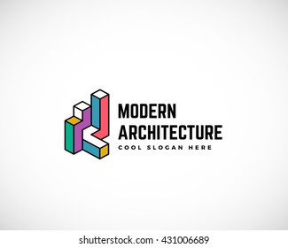 Modern Architecture Abstract Vector Logo Template. Construction Sign. Building Concept Symbol. Isolated with Premium Typography.