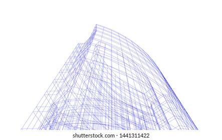 modern architecture building 3d illustration