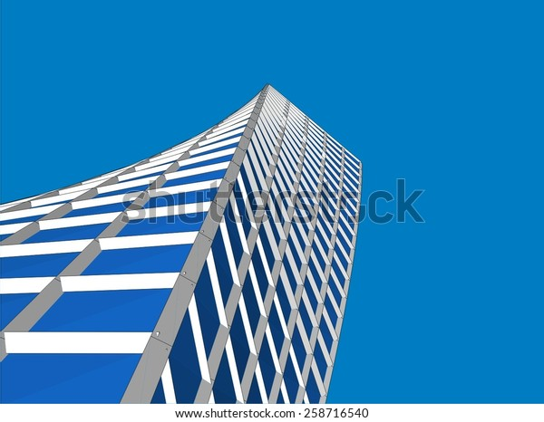 Modern Architecture Building Skyscraper Construction Stock Vector ...