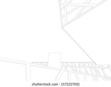 modern architecture building vector 3d illustration