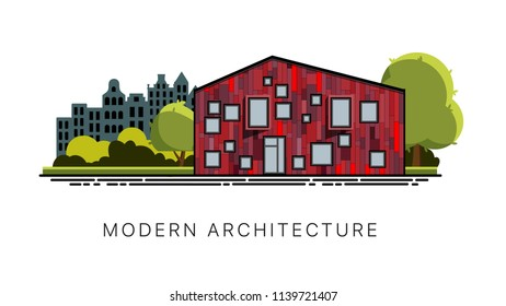 Modern architecture. Facade of a modern building. Exterior of a modern building. Vector facade of a modern building in a flat style. House isolated on white background