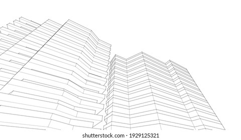 modern architecture house with balconies 3d rendering