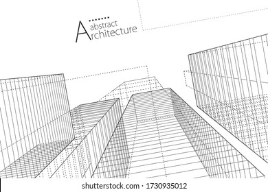 Modern architecture urban 3D illustration. Architecture building construction perspective line drawing design abstract background. - Shutterstock ID 1730935012