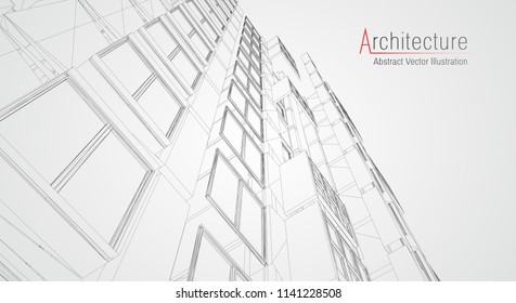 Modern architecture wireframe. Concept of urban wireframe. Wireframe building illustration of architecture CAD drawing.