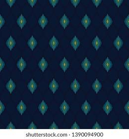Modern argyle pattern peacock feather motif. Minimal monochrome simple geometric arrangement. Art Deco colors print block apparel textile, female dress fabric, fashion garment, mens shirt, swimwear.