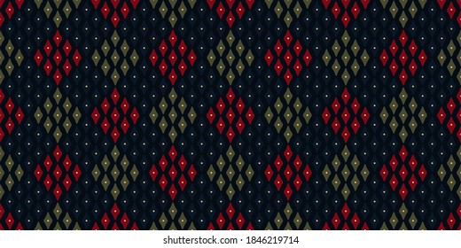 Modern argyle plaid pattern Christmas design retro holiday background royal blue, green, crimson red. Allover print block for packaging paper, wrapping cloth, book cover, shop window, patchwork fabric