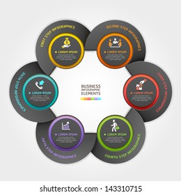 Modern arrow circle business service origami style. Vector illustration. can be used for workflow layout, diagram, number options, banner, step up options, web design, infographics.