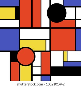 Modern art abstract - colorful circles, squares and rectangles. Mondrian geometric style vector illustration.