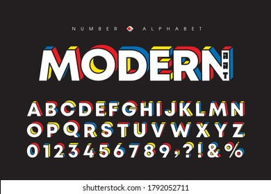 Modern art alphabet and number set. Stylish block font or typeface for headline, title, poster, web design, brochure, layout or graphic print. Flat vector 3D letters & number.